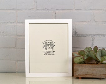"""8.5 x 11"""" Picture Frame in Peewee Style with Solid White Finish - Handmade Modern White Document Frame - 8.5x11 Gallery Frame"""
