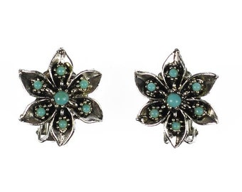 Vintage Silver Tone Flowers Turquoise Cabochon Earrings Clip Back