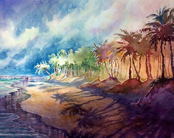 The Morning Walk - Watercolor Painting Print by Michael David Sorensen. Tropical Beach Painting. Palm Trees. Couple on the Beach. Purple.