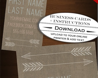 Printable etsy cards etsy business card design arrows business card template diy minimalist business card template design etsy shop business card reheart Image collections