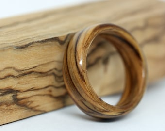 Mens Wood Wedding Band, Olive Wood Ring, Bentwood Ring, Wooden Wedding Ring, Wood Anniversary Gift, Olivewood Wooden Wedding Band