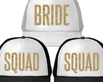 BRIDE or SQUAD Glitter Print Trucker Hat | Bachelorette Party Hats | Wedding Trucker Hats