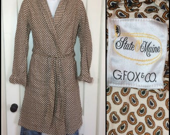 1950's Cotton Paisley Patterned Robe size Medium Off White Cream color Black Blue Yellow Ochre State O Maine