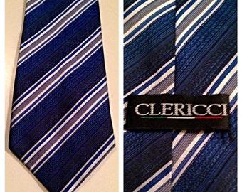 SALE Vintage Blue Stripe Necktie by Clericci
