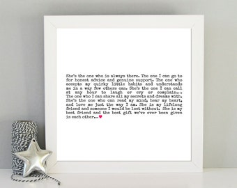 Best friend gift - Special friend gift - Definition of a friend art print - Framed art print for Friend - Bridesmaid gift idea