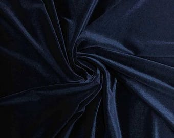 Stretch Velvet Fabric by the yard - Navy