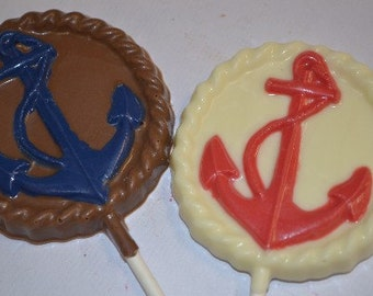 Chocolate Nautical Anchor Lollipops - Beach Wedding - Nautical Baby Shower - Sailing Party Favor - Anchor Chocolate - Beach Party Favor