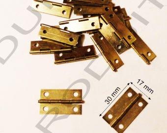 Set of 10 gold hinged to box jewelry box chest 30x17mm matching screws