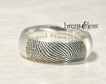 Traditional Comfort Fit Low Dome Fingerprint Wedding Band in Sterling Silver - Fingertip Print on the Outside