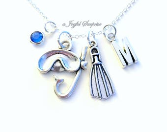 Scuba Diving Necklace, Snorkeling Jewelry, Diver's Charm Instructor Gift Personalized Initial Birthstone birthday present Christmas Gift her