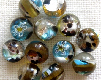 8mm Round Beads 12 Pcs | Murano Style Glass | Glass Beads | Brown Silver Blue Floral Beads for Jewelry Making | Jewelry Beads | Craft Beads