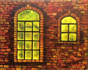 """Old factory original  painting 8 x 10"""""""