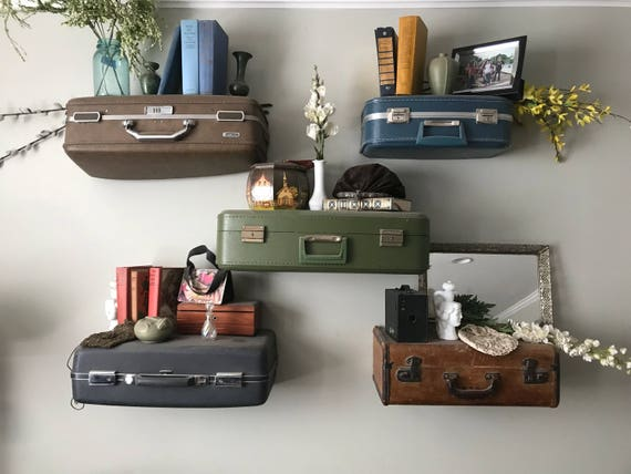 Vintage Suitcase Shelves, Small Suitcase Shelves, Travel Themed  Decorations, Suitcase Shelf Small, Vintage Display Shelving, Custom Orders Design Ideas