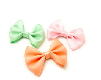 "3 Satin Hair Bows, 60 colors, Pink Mint Peach, 3"" Bow Tie Hair Bow, Kawaii 3 inch bow, French Barrette, No Slip Alligator Clip or, Snap Clip"