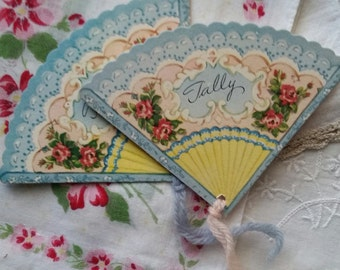 Beautiful Vintage Shabby Chic Fan Tally Cards | Unused Tallies