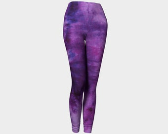 Tie Dye Leggings-Women's Leggings-Capri Leggings-Yoga Pants- Purple Plum Leggings-xs, s, m, l, xl