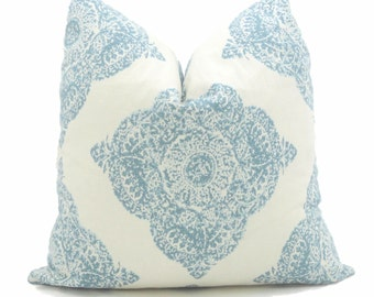 Mani Aqua and White Wood Block Decorative Pillow Cover Square or Lumbar Pillow Cover Toss Pillow Throw Pillow made with Duralee John Robshaw