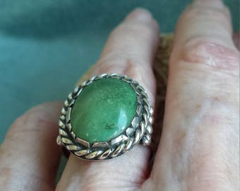 Sterling silver Native American green turquoise wide band ring