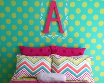 Large Polka Dot Wall Stencil - Painting Decal Dots on Feature Wall in Nursery, Girls Room, Kids Room