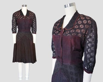 1940s Black Lace Victorian Collared Dress Sz 8