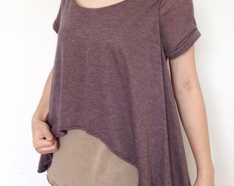 SC009: Brown-Beige two-tone Blouse, Short sleeve TShirt, 2-tone Top, Woman Top, V Neck Tee, Ladies T shirt, Casual Chic 2-tone Women Top
