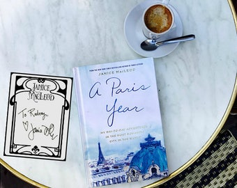 Signed bookplates! TWO autographed bookplates from Janice MacLeod, Paris Letters, A Paris Year, Gifts for Paris lovers, FREE SHIPPING