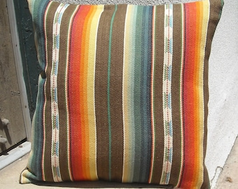 Southwestern Pillow Cover 16 x 16 to 24 x 24, custom sizes available.  Woven serape design.  Free trade woven cotton fabric