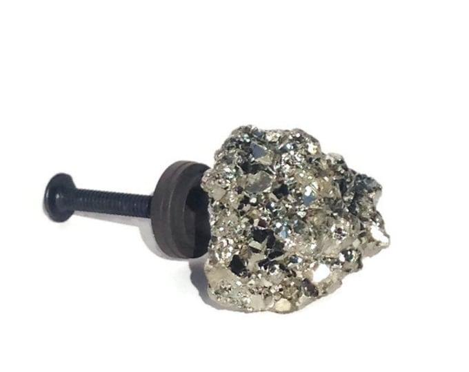 Gold Pyrite Knob--Gold Drawer Pull--Unique Cabinet Pull--Pyrite Drawer Pull--Pyrite Dresser Pull--LARGE GOLD KNOB