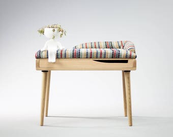 Upholstered bench / Stool / Seat / Ottoman / in oak / walnut