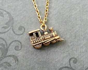 Train Necklace SMALL Gold Train Jewelry Model Train Gift Locomotive Necklace Long Distance Relationship Necklace Father's Day Dad Necklace