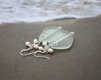 Aqua Sea Glass Earrings Seaglass Earrings Sea Glass Jewelry Wedding Earrings Bridal Earrings Bridesmaid Beach Jewelry Seaglass Jewelry 092