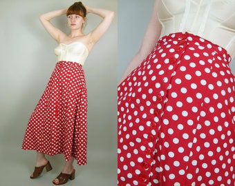 """RESERVED HUGE SALE 50s Style Vintage Handmade Cotton Red and White Polka Dot Button Down Full Skirt Small- 26"""" waist"""