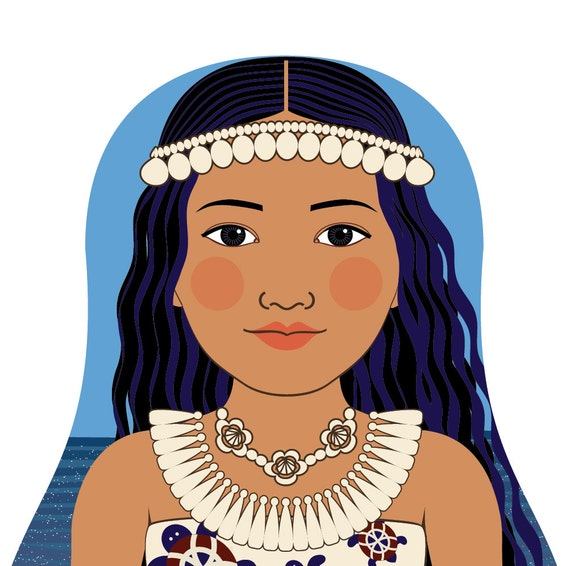 Marshallese Doll Art Print with traditional folk dress matryoshka