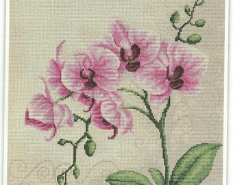 Elegant ORCHIDS PINKS-LAVENDERS-Luca-s Counted Cross Stitch Kit-Hard to Find