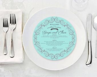 GINGER Elegant Round Menu Cards with Damask Motif, Dinner Plate Accent, Plate Menu, Table Cards, Custom Menu, Circle Menu Cards