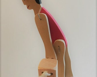 Toy Acrobat Girl - Handcrafted Wooden Toy Acrobat - Travel toy- car, train, plane, Squeeze, release posts and watch puppet swing & do tricks