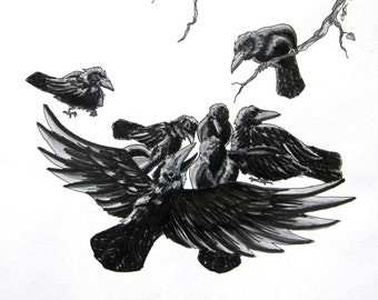 Nine For A Secret - Raven Poem - Archival Art Print