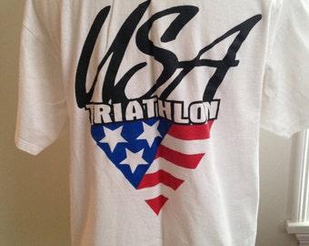 Vintage Olympic Team USA Triathilon Tshirt
