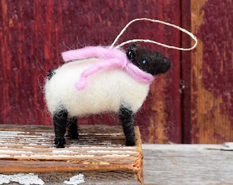 Suffolk Lamb with a Pink Scarf- Needle Felted Sheep Christmas Ornament