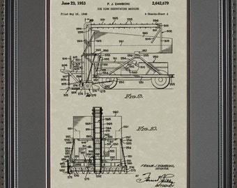 Zamboni Ice Resurfacer Patent Artwork Hockey Rink Gift Z2679