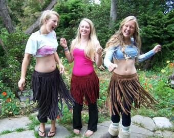 Fringe Leather skirt, Tribal fringe skirt, Woodland Fringe skirt, Olive Fringe skirt, Green Fringe skirt,  Green Pixie skirt, size M