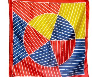 Vintage VERA Silk Scarf - Red, White, Blue and Yellow Geometric Print / Rolled Hem - Square Scarf / 24 Inches