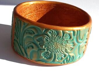 Bangle Bracelet, Polymer Clay Bracelet, OOAK