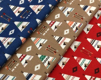 Tee pee Native American, Woodland, geometric Arrow feather Fabric Southwest, blue red tan Fabric teepee quilting fabric, By the Yard