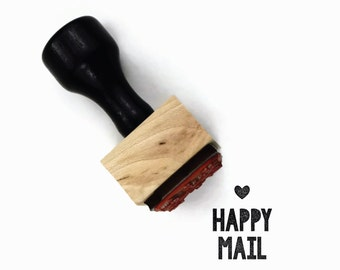 Rubber Stamp Happy Mail | DIY Snail Mail Packaging | Wood Mounted Stamp