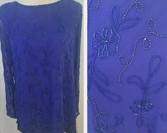 Deadstock Vintage Blue Beaded Floral Blouse/ Top