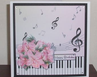 Music birthday card etsy music lover birthday card with piano keys musical notes and pretty pink flowers music bookmarktalkfo Images