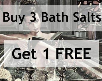 Buy 3 Get 1 Free Natural Bath Salts - Organic Herbal Bath - Discount Botanical Sea Salt Detox - Moisturizing Luxury Spa Gift