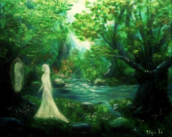 Fantasy art Fairy forest canvas wall art painting holiday gift for sister green decor magic forest unusual picture woman art fairy tale gift