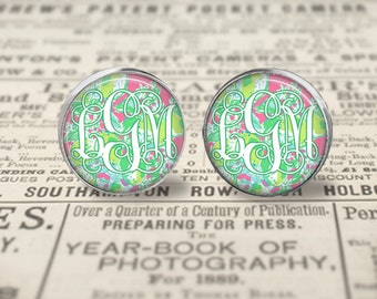 Personalized Lilly Pulitzer Inspired  Monogram Glass Earrings, Lilly  Earrings, Pink Lemonade Earrings, Personalized Lilly  Silver Earrings